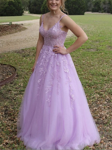 V Neck Purple Tulle Lace Long Prom Dresses, V Neck Purple Tulle Lace Long Formal Evening Dresses