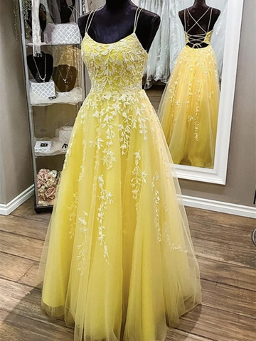 Backless Yellow Lace Long Prom Dresses, Open Back Long Yellow Lace Formal  Evening Dresses