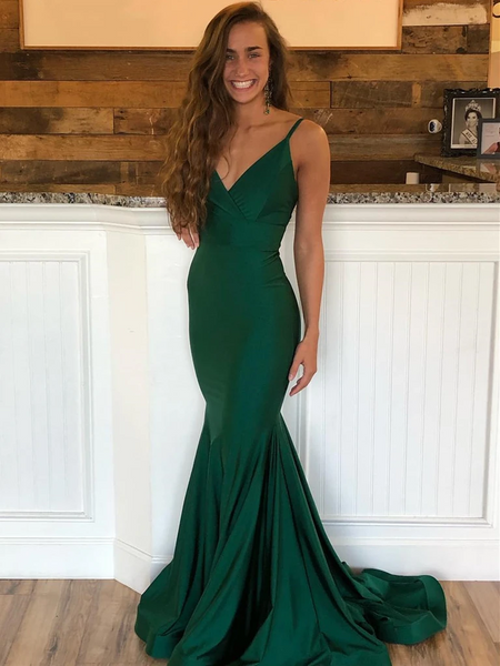 Mermaid V Neck Green Backless Satin Long Prom Dresses, Emerald Green Mermaid Formal Evening Graduation Dresses with Sweep Train