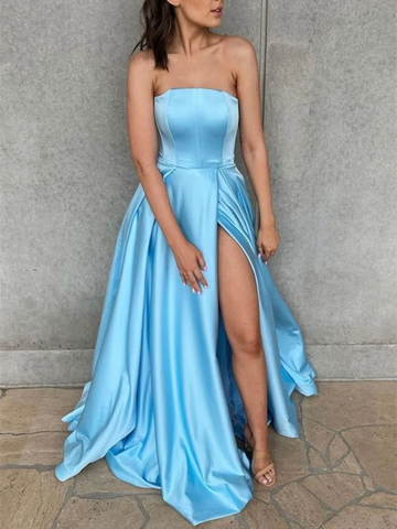 Simple Blue Satin Long Prom Dresses, Simple Blue Satin Long Formal Evening Bridesmaid Dresses