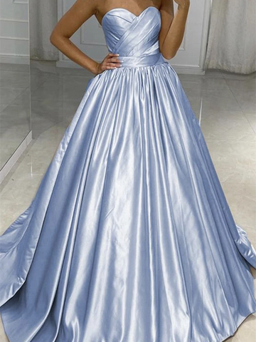 A Line Cute Sweetheart Neck Satin Pink Blue Long Prom Dresses, Sweetheart Neck Satin Pink Blue Long Formal Evening Dresses