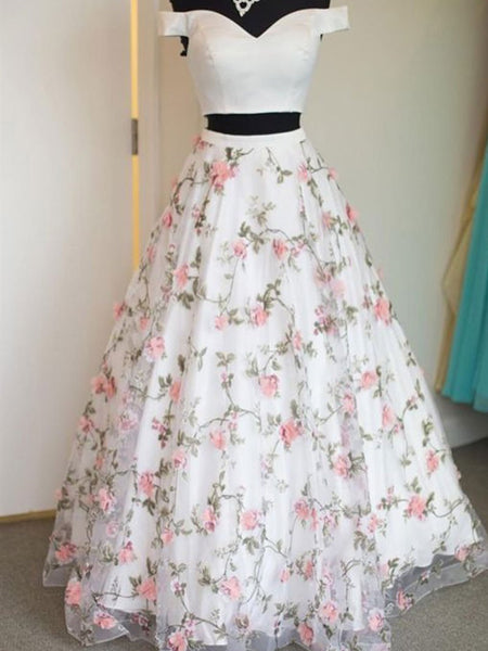 Off the Shoulder White Floral Prom Dresses, Off Shoulder White 3 D Flower Long Formal Graduation Evening Dresses