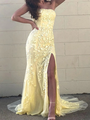 Strapless Mermaid Yellow/Pink Lace Long Prom Dresses, Yellow/Pink Lace Formal Evening Dresses