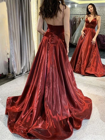 A Line V Neck Burgundy Long Prom Dresses, V Neck Burgundy Backless  Formal Graduation Evening Dresses