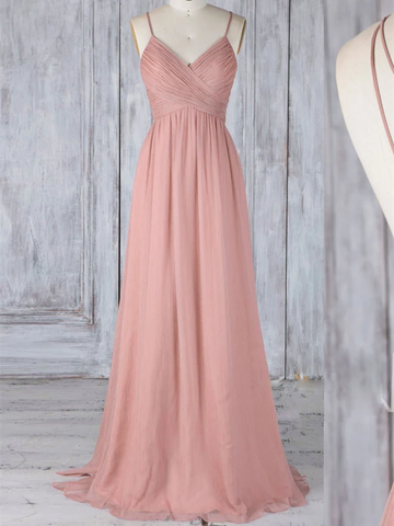 A Line V Neck Pink Chiffon Lace Backless Long Prom Dresses, V Neck Pink Chiffon Lace Backless Formal Evening Dresses