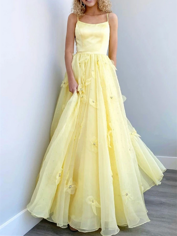 A Line Yellow Tulle Long Prom Dresses, A Line Yellow Tulle Long Formal Evening Dresses