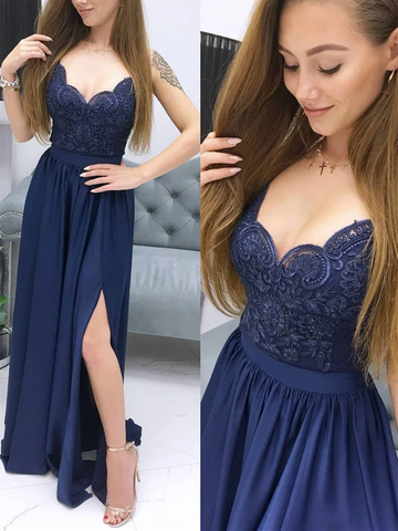 V Neck Blue Chiffon Sweetheart Lace Long Prom Dresses, Blue Lace Long Formal Evening Dresses