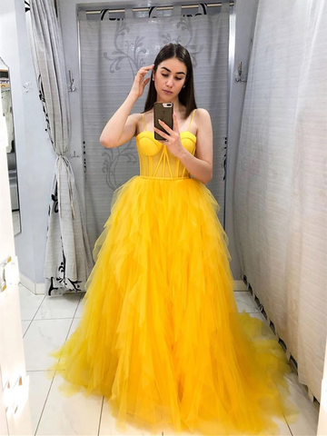 A Line Yellow Tulle Long Prom Dresses, Yellow Tulle Long Formal Evening Dresses