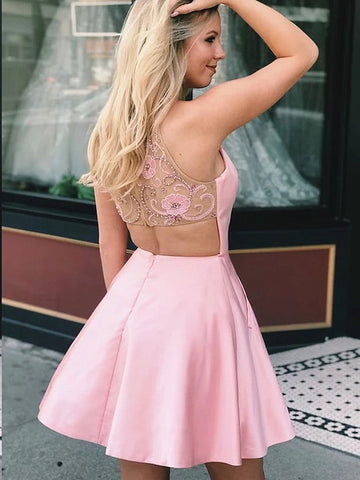 Short Pink Beaded Prom Dresses, Short Pink Formal Graduation Dresses