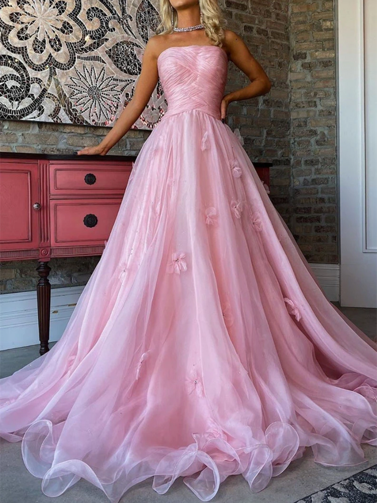 A Line Strapless Pink Tulle Applique Long Prom Dresses,  Pink Tulle Applique Long Formal Evening Dresses