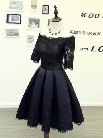 A Line Half Sleeves Off Shoulder Black Short Homecoming Dresses,  Off Shoulder Black Short Lace Prom Dresses
