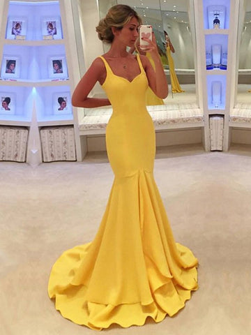 Silk-like Satin V-neck Trumpet/Mermaid Sweep Train with Ruffles Prom Dresses
