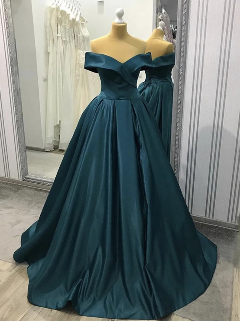 Blue-Green Off The Shoulder Satin Long Prom Gown, Off Shoulder Blue-Green Formal Evening Dresses