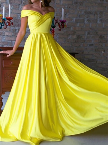 Pleated Spring Yellow Satin Off Shoulder Long Prom Dresses, Off The Shoulder Pleated Spring Yellow Satin Long Formal Evening Graduation Dresses