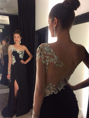 Custom Made A Line One Shoulder Black Backless Prom Dress, Black Backless Formal Dress