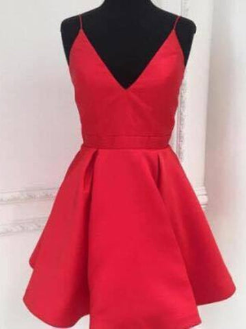 Custom Made A Line V Neck Short Red Prom Dresses, Short V Neck Homecoming Dresses, Red Graduation Dresses