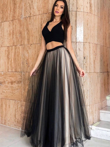 Black V Neck Tulle Two Pieces Long Prom Dresses, V Neck Black 2 Pieces Long Formal Evening Dresses