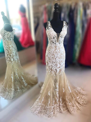 V Neck Mermaid Champagne Lace Long Prom Dresses, Lace Mermaid Champagne Formal  Evening Dresses
