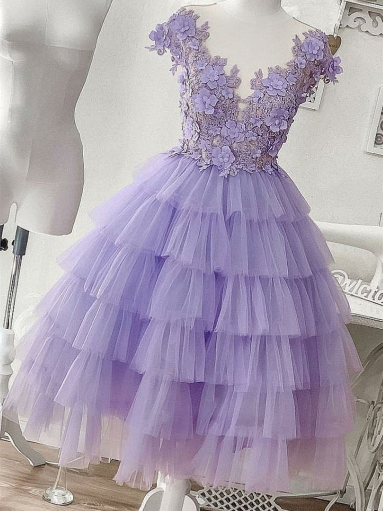 A Line Purple Tulle Lace  Applique Short Prom Dress, Purple Tulle Lace Short homecoming dress