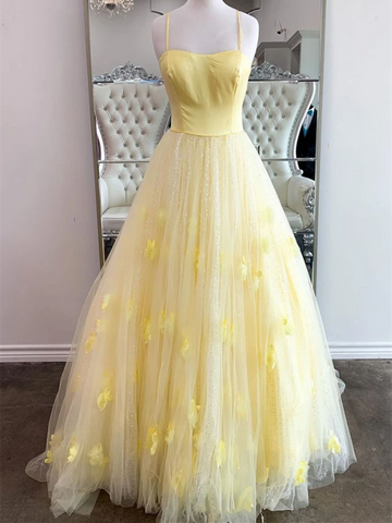 Yellow Tulle Sequins Long Prom Dresses with Thin Straps, Shiny Yellow Long Formal Evening Dresses
