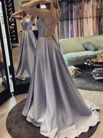 A Line Backless Satin Long Prom Dresses, Simple A Line Open Back Satin Long Formal Evening Dresses