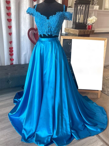 Off Shoulder Two Pieces Blue Lace Long Prom Dresses, Off the Shoulder 2 Pieces Blue Lace Formal Evening Dresses