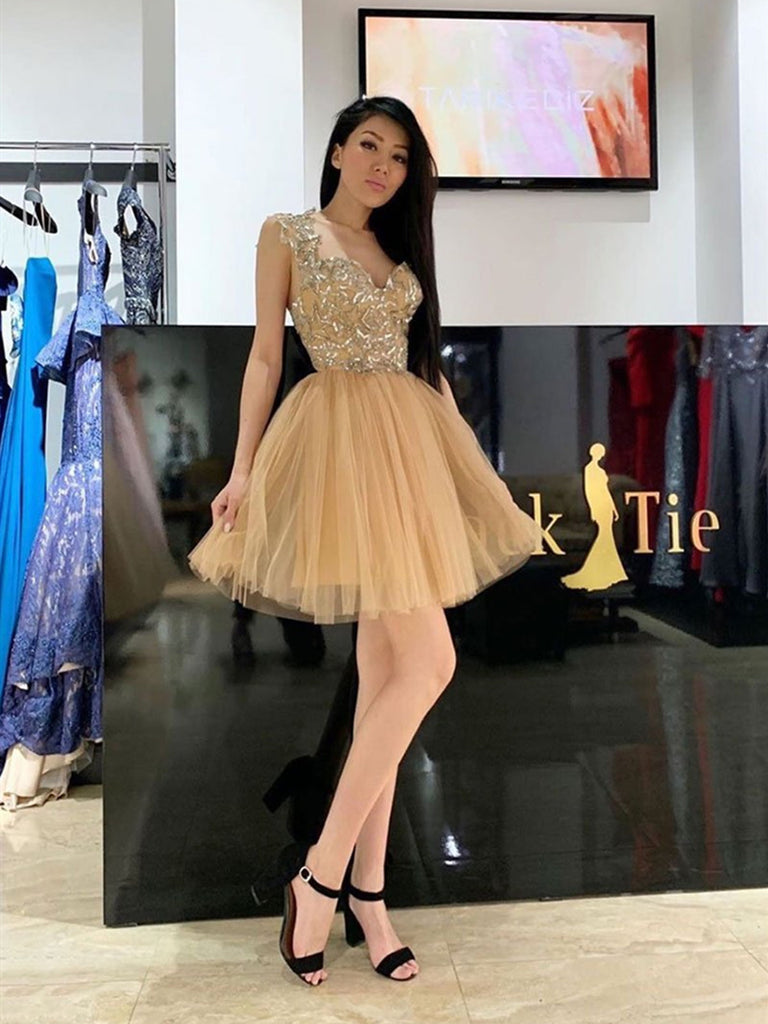 Gold Sweetheart Neck Tulle Short Prom Dress, Gold Sweetheart Neck Tulle Short Graduation Homecoming Dress