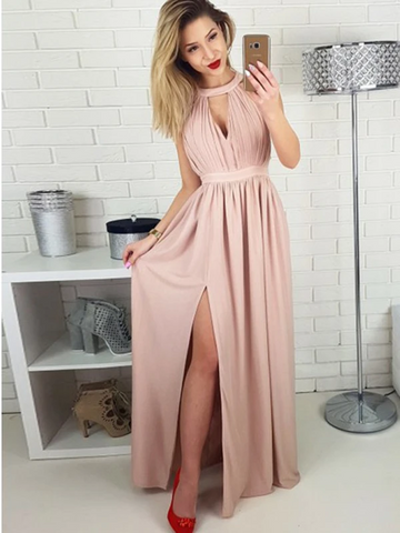 Gorgeous Pink Halter Side Slit Unique Back Design Long Evening Prom Dresses, Pink Chiffon Long Prom Dresses