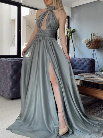 Sexy A Line Halter Neck  Gray Chiffon Long Prom Dresses, Halter Neck  Gray Chiffon Formal Evening Dresses