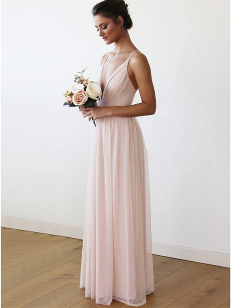 A-Line V Neck Criss-Cross Straps Pink Chiffon Long Bridesmaid Dress with Pleats,  Pink Chiffon Long Prom Dress