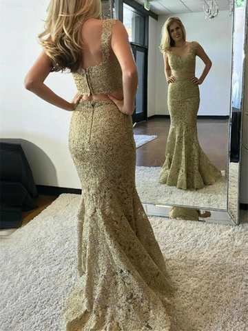 V Neck Two Pieces Mermaid Golden Lace Long Prom Dresses, 2 Piece Golden Mermaid Lace Formal Evening Dresses