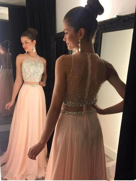 Custom Made A Line Round Neck Sleeveless Pink Floor Length Prom Dress, Pink Long Formal Dress, Pink Evening Dress
