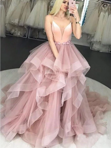 Pink V Neck Tulle Long Prom Dress, Pink V Neck Tulle Long Formal Evening Dress