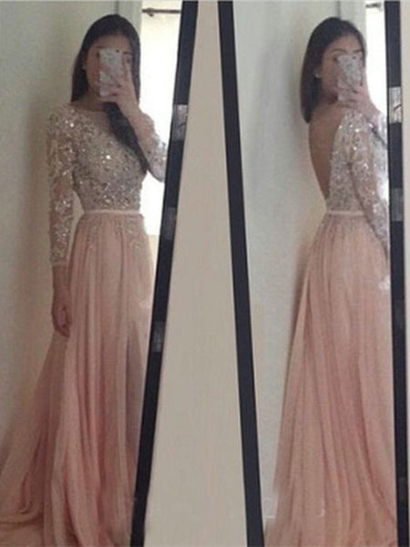 Custom Made Round Neck Long Sleeves V Neck Back Prom Dresses, Long Sleeves Formal Dresses