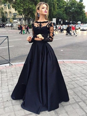 Long Sleeves Two Pieces Lace Crew Neck Prom Dresses, Lace Formal Dresses