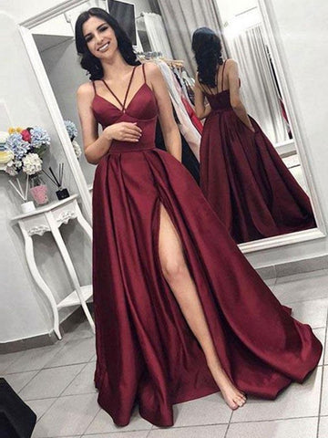 Burgundy V Neck High Slit Prom Dresses, Sleeveless Formal Dresses