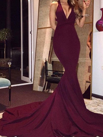 Burgundy V-Neck Mermaid Prom Dresses, Sleeveless Formal Dresses