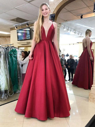 Burgundy V Neck Long Prom Dress, Sleeveless Formal Dresses