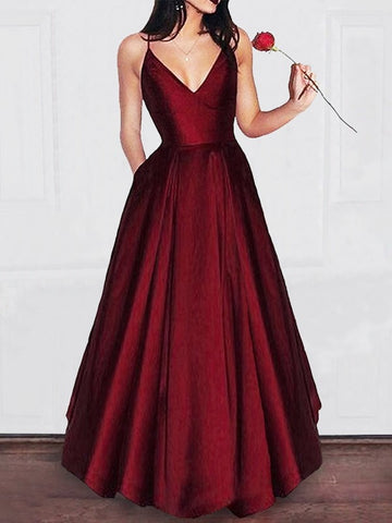 Burgundy V-Neck Sleeveless Prom Dresses, A-Line Formal Dresses