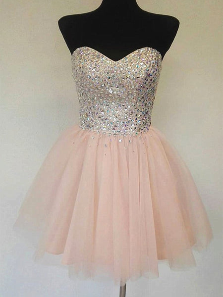 A Line Sweetheart Neck Short Prom Dresses, Sequins Pink Homecoming Dresses