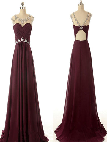 A Line Round Neck Maroon Prom Dress, Maroon Formal Dresses, Bridesmaid Dresses