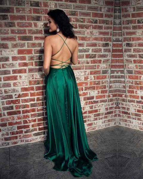 Green A Line Scoop Neck Split Front Prom Dresses, Pockets Formal Dresses