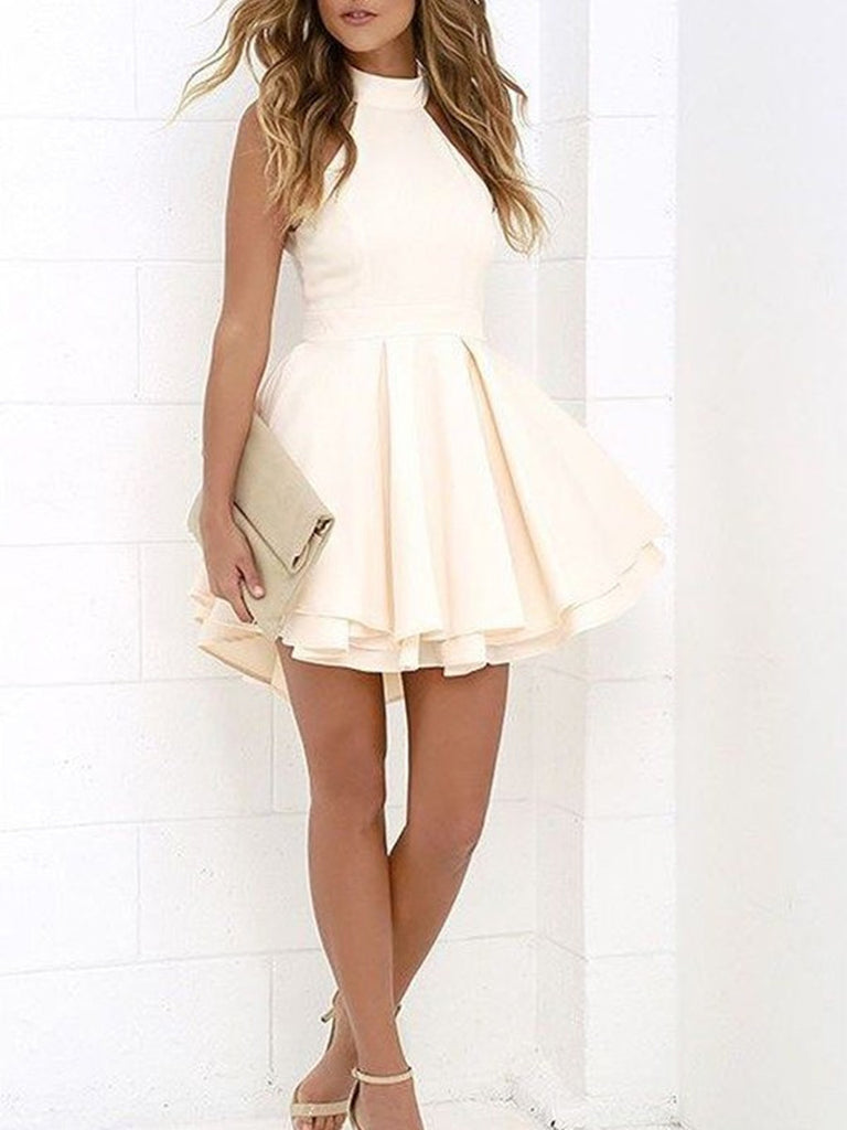 A Line Ivory Short Prom Dresses, Princess Halter Sleeveless Short/Mini Homecoming Dresses