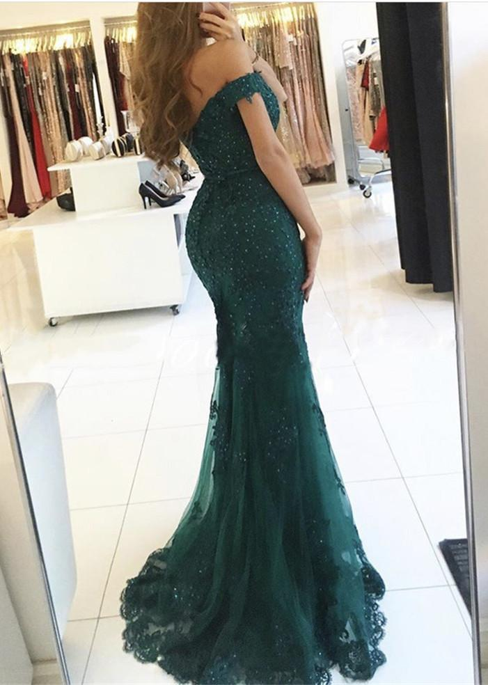 cb7753160f7b Emerald Green Off Shoulder Mermaid Lace Prom Dress