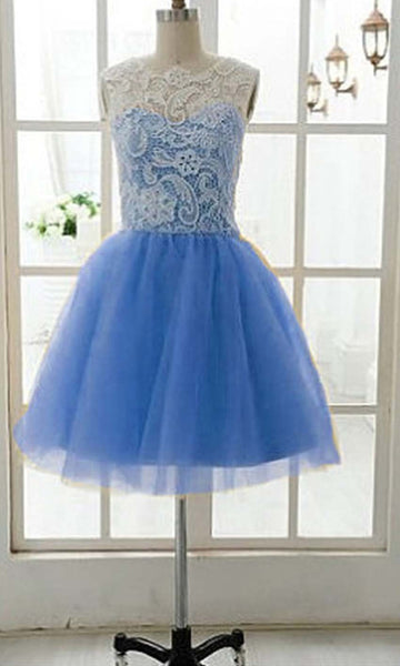 Custom Made A Line Round Neck Short Blue Lace Prom Dress, Short Lace Bridesmaid Dress, Homecoming Dress