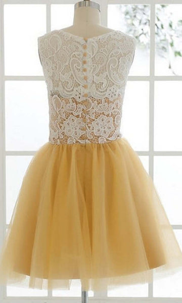 Custom Made A Line Round Neck Short Yellow Lace Prom Dress, Short Lace Bridesmaid Dress, Homecoming Dress