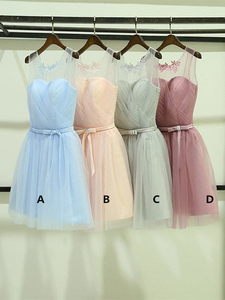 Custom Made A Line Round Neck Short Prom Dresses, Short Graduation Dresses, Homecoming Dresses, Short Bridesmaid Dresses