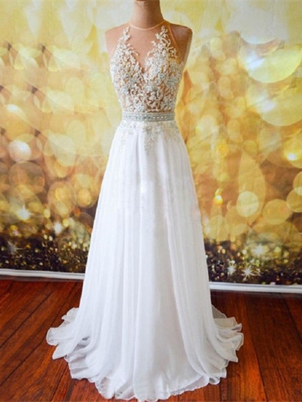 Custom Made A Line Open Back Long Prom Dresses with Lace Appliques, Open Back Formal Dresses
