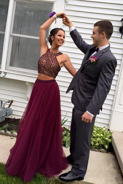 Custom Made A Line Round Neck 2 Pieces Maroon Prom Dresses, 2 Pieces Maroon Formal Dresses