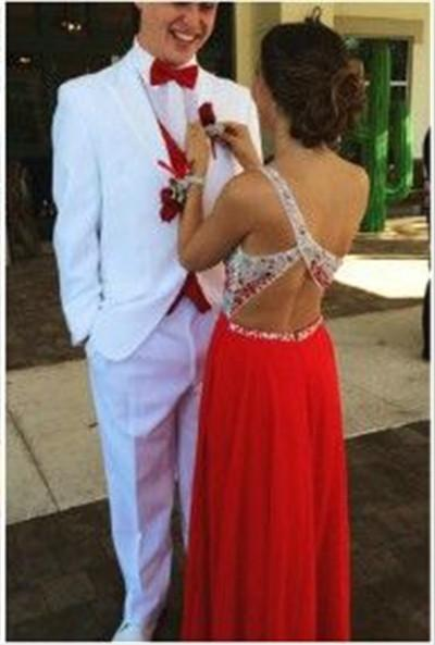 Custom Made A Line One Shoulder Red Backless Long Prom Dresses, Backless Long Formal Dress Back Details